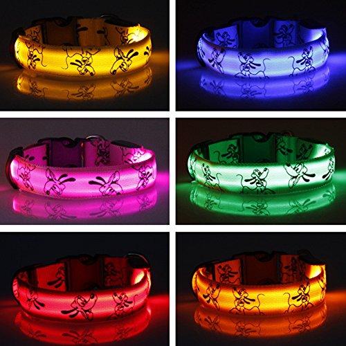 Eizur Regulierbar LED Hundehalsband Sicherheits Leuchthalsband Blinkendes Licht Haustier Halsbänder 3 Leucht-Modi Größe S–Rosa - 4