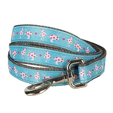 Blueberry Pet 2,5 cm by 120 cm Pinker Frühling Herz & Pilz Blüten Basic Nylon-Hundeleinen, L, Passender Hundehalsband erhältlich separate