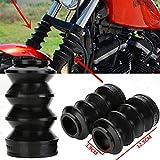 ECLEAR 2Pcs Motorrad Gabel Faltenbälge vorne Stoßdämpfer Gummi-Gabelkappe 39mm für Harley Iron 883 Sportster 1200