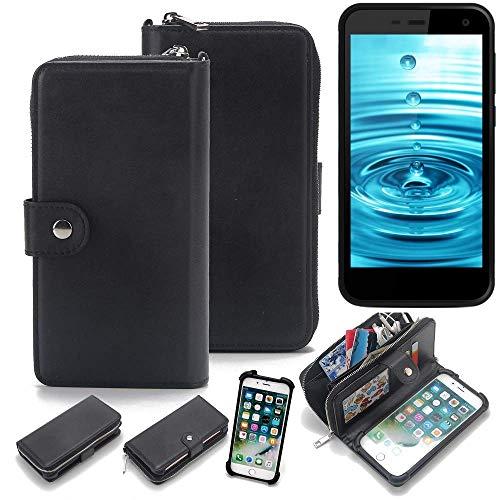 K-S-Trade 2in1 Handyhülle für Energizer H500S Schutzhülle & Portemonnee Schutzhülle Tasche Handytasche Case Etui Geldbörse Wallet Bookstyle Hülle schwarz (1x)