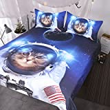 BlessLiving Funny Space Cat Bed Set 3 Piece Astronaut Kitty Bedspread Teens Kids Blue Galaxy Bedding Star Universe Duvet Cover (Twin)
