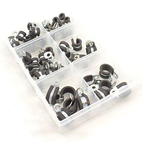 Gummi gefüttert Zink versilbert Metall P Clips für Kabel, sortiert Box 45teilig Metall-gefüttert