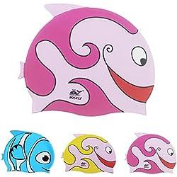 Gorro de natación para niños de Ejia Tech, de silicona y con dibujos de peces., Infantil, rosa