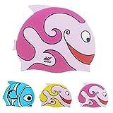 Cuffia da nuoto in silicone per bambini, paraorecchie Ejia Tech impermeabile cuffia in silicone da nuoto per bambini a forma di pesce, Bambino, Pink