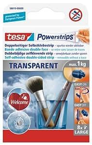Tesa 588100000000 Powerstrips Lot de 8  Bandes adhésives double face Déco pour Fixation Transparent L