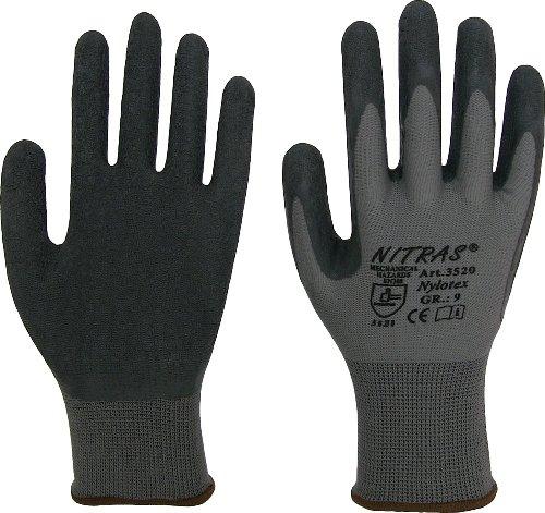 NITRAS Nylotex 3520 Nylon-Latexhandschuhe Arbeitshandschuhe 12 PAAR Gr. 9 Nylon-handschuh