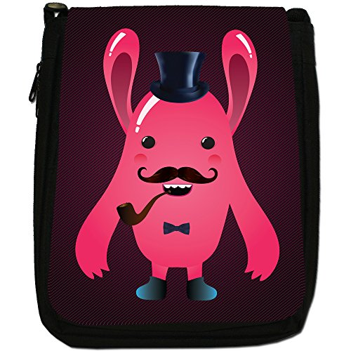 Funny Freak Hipster Trendy Monsters-Borsa a tracolla in tela, colore: nero, taglia: M Nero (Pink Long Ear Top Hat Monster)