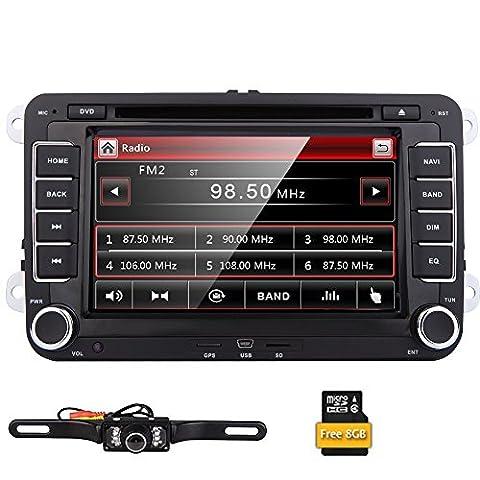 EinCar Double 2 Din 7 pouces st¨¦r¨¦o Taille de DVD de voiture GPS Nav Radio pour VW Passat t5 Golf MK5 Jetta + Cam¨¦ra
