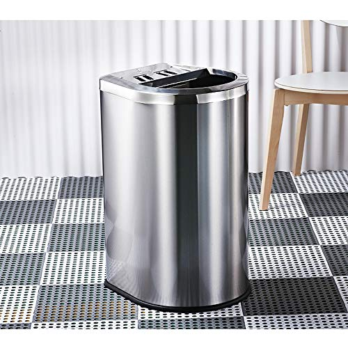 SJ&Q Kommerzielle Mülleimer, große Kapazität Edelstahl Peel Papier Aschenbecher Abfallbehälter für Lobby Garten Hotel Einkaufszentrum 40L