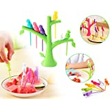 Fruit Fork, Plastic Fancy Fruit Fork, Attractive On Table And Ideal Fork For Eating Fruits, Fancy Fork |Tree Shape Holder Rack Party Home Décor | Cutlery Set | Fork Set For Kids | Fork Set With Stand | Forks Set | Fork Stand | Fork For Babies | ( P