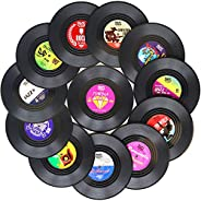 Funny Coasters for Drinks | Set of 12 Vinyl Records Disk Music Lover Drink Coaster Conversation | Housewarming