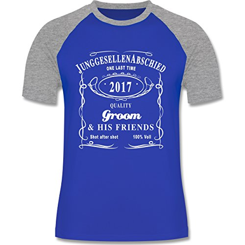 JGA Junggesellenabschied - JGA Groom 2017 Lettering - zweifarbiges Baseballshirt für Männer Royalblau/Grau meliert