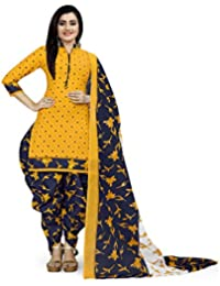 Rajnandini Women's Yellow Cotton Printed Unstitched Salwar Suit Material (Free Size)