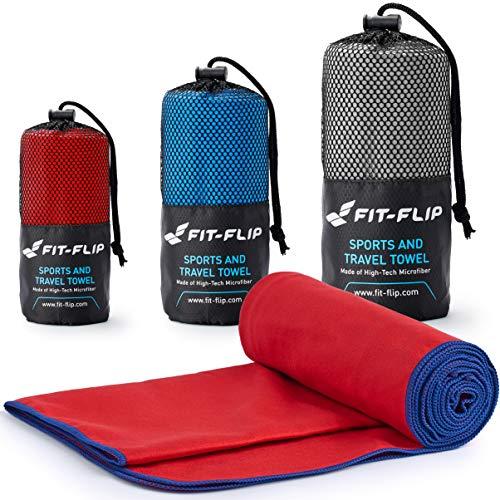 Fit-Flip Rot mit dunkelblauen Rand, 1x 200x100cm | Handtuch mikrofaser mädchen reisehandtuch schnelltrocknend Set reisehandtuch mikrofaser