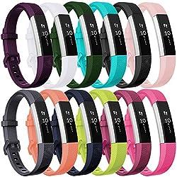 HUMENN Bracelet pour Fitbit Alta/Fitbit Alta HR/Fitbit Alta Ace, Bande de Remplacment TPU Réglable Accessoire for Fitbit Alta (HR) Small 12 en 1