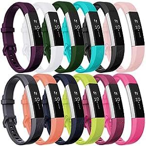 HUMENN Für Fitbit Alta HR Armband, Fitbit Alta Armband Verstellbares Sport Ersatz Band Ersatzarmband Wristband Silikonarmband Fitness Zubeh?rteil mit Metallschlie?e Small # 12Pack