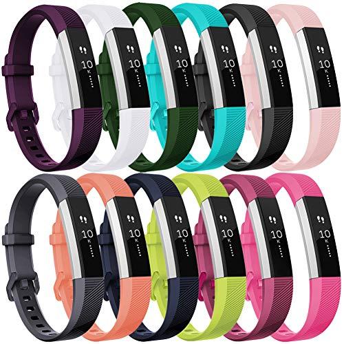 HUMENN Für Fitbit Alta HR Armband, Alta Armband Verstellbares Sport Ersatz Band Ersatzarmband Wristband Silikonarmband Fitness Zubehörteil mit Metallschließe Small # 12Pack