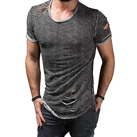 Qilaizhongda Herren Men's Casual Rundkragen Kurzarm Short Sleeve Solid Slim Fit Destroyed Zerrissen Running Sport Tee Shirt Muscle Ripped Holes Streetwear T-shirt Top (XS,Grau)