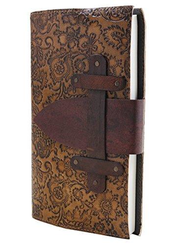Navidad Regalos Cuero Diario Diario Notebook mano en relieve con floral Hardbound Cubierta y 72 sin forro Páginas ecológicos