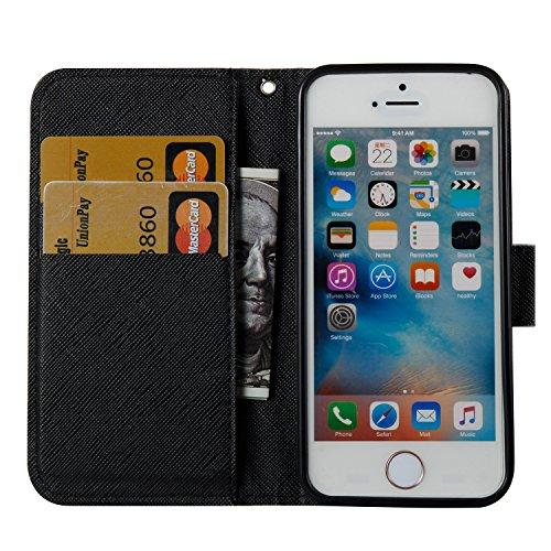 Sunroyal Akku Wallet Case Klapp Hülle Flip Tasche für iPhone 6 Plus 6S Plus 5.5 Zoll Leder im Löwenzahn Look mit Kartenfach Auto Aufwachen Schlaf Stand Weichem TPU Silikon Zurück Rückseite + 1x Schlei Pattern 2