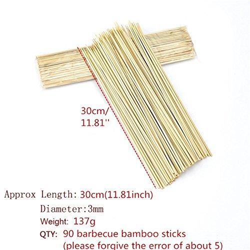 51mmKU0PFKL - Lumanuby 90 x Holz Grillspieße Marinaden Sticks, Einweg-Grill Utensilien Bambus Party Sticks, Perfekt für BBQ Fleisch, Steaks Vieles Mehr (30 cm)