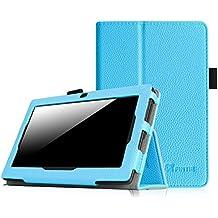 """Fintie Folio Case Funda Cascara Delgada con Soporte para Alldaymall A88X- Tablet de 7"""" pulgadas, JYJ 7 pulgadas Tablet, iRULU X1S - Tablet de 7 pulgadas, JINYJIA E-SHOP 7"""" Pulgadas, Dragon Touch Y88X Plus / Y88X 7"""", Haehne MiniPad 7 Pulgadas, LENOTAB Trimeo - Tablet de 7"""", Arespark ultrafino de 7 pulgadas, Yuntab Q88 A33 - Tablet de 7"""" Android Tablet(Consulte más modelos de tablet compatibles en la Descripción), Azul"""