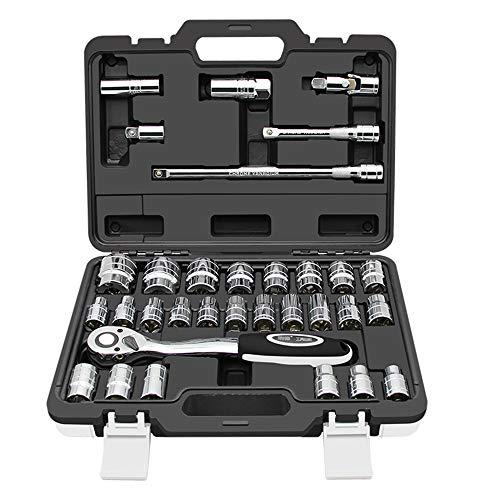 FELICIPP 32 pièces Lecteur Prise Ensemble clé à cliquet Outils de Combinaison kit de réparation Auto kit pour réparation Automobile/Entretien de la Maison