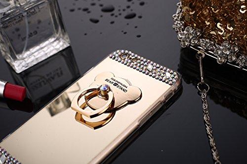 Coque iPhone 7 Miroir, iPhone 8 Coque en Silicone, SainCat Ultra Slim TPU Silicone Case Cover pour iPhone 7/8, Coque Miroir Bling Glitter Silicone 3D Anti-Scratch Soft Gel Cover Coque Caoutchouc Trans D'or