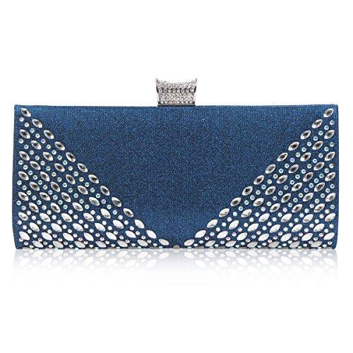 Damara Femme Sac De Soirée Perlé Strass Bouton Pression Mariage bleu
