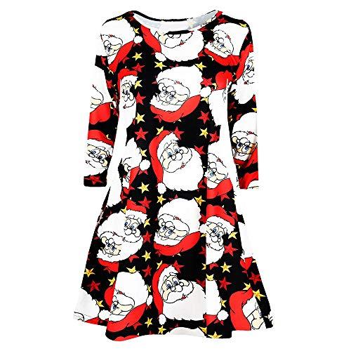 (VEMOW Heißer Elegante Damen Abendkleid Vintage Weihnachten Santa Gedruckt Kostüm A-Line Lose Beiläufige Tägliche Party Schaukel Kleid(X10-Mehrfarbig 4, EU-34/CN-S))