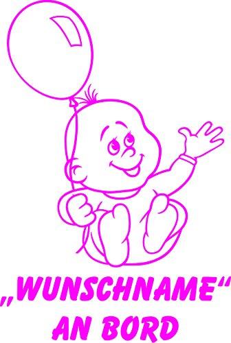 INDIGOS UG - Babyaufkleber / Kinderaufkleber 079 mit Wunschname / Wunschtext an Bord ca. 20 cm Höhe - Autoaufkleber in verschiedenen Farben
