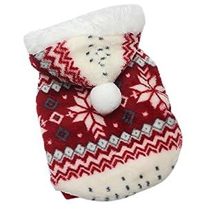 MagiDeal Gilet Vêtement de Chien d'Hiver Imprimé Neige en Polaire Décoration pour Chien en Halloween Noël Rouge