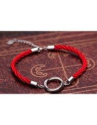 &qq Rojo cuerda pulsera redonda / / 925 Silver/moda/joyería/pareja/hombre/mujer/regalos , men