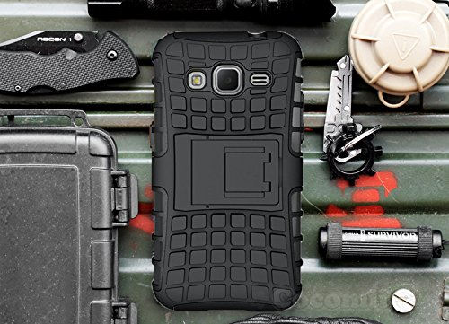 Cocomii Grenade Armor Galaxy Core Prime/Win 2/Prevail Hülle [Strapazierfähig] Taktisch Griff Ständer Stoßfest Gehäuse [Heer Verteidiger] Case Schutzhülle for Samsung Galaxy Core Prime (G.Black)