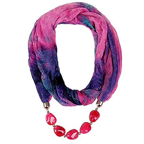 Forever & Moment Women Tie Dye Loop Infinity Chiffon Scarves Large Marble Stones Jewelry Pendant Scarf Necklaces (Hot Pink &