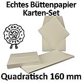 Echtes Büttenpapier   25er Set   quadratisches Karten-Set Faltkarten 160 mm + Umschläge 166 mm   Naturweiß halbmatt   ORIGINAL ZERKALL-BÜTTEN - Serie IDA   Handgemacht - Made in Germany