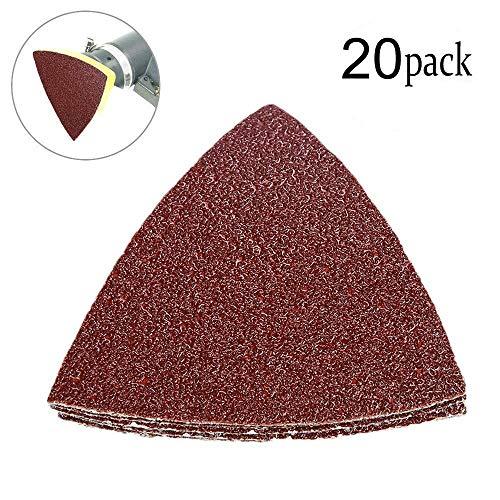 20 piezas papel lija triangular grano 40 gancho lazo