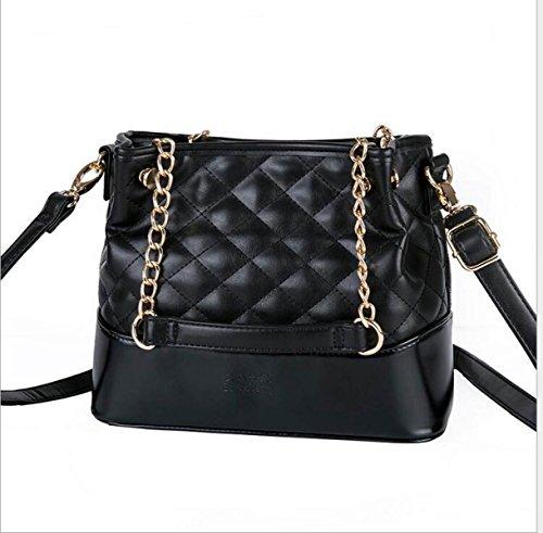 Damen Schultertasche Aus Weichem Leder Handtasche Kette Tasche Black