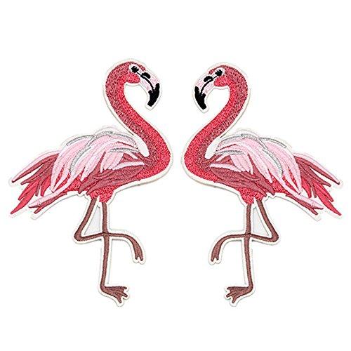 Lanlan Sommer Kleidung Stoff Buttons DIY Bekleidung Zubehör Flamingo Patches für Kleidung Eisen auf bestickt Applikationen, rot, 15*9.6cm Rote Eisen-auf Stoff