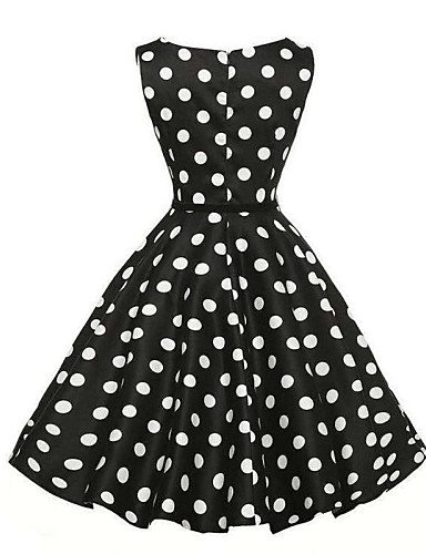 PU&PU Robe Aux femmes Gaine / Patineuse Vintage / Street Chic,Points Polka Col Arrondi Mi-long Coton / Polyester WHITE-2XL