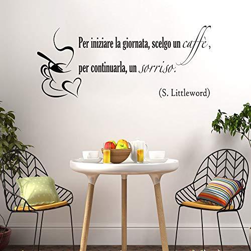 WSLIUXU Neues Design Kaffee Wandaufkleber selbstklebende Vinyl Wasserdichte Wandkunst Aufkleber Kinderzimmer Wohnzimmer Dekoration Wandkunst Grau L 43 cm X 18 cm -