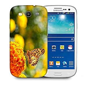 Snoogg Butterfly In Yellow Flower Printed Protective Phone Back Case Cover For Samsung S3 / S III