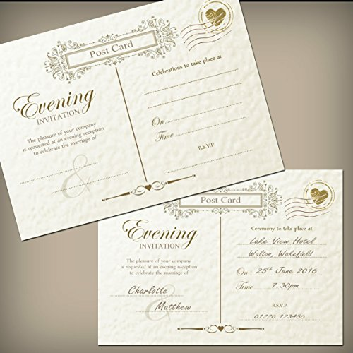10-Vintage-Evening-Invitations-with-Envelopes-Ivory-hammered-texture-card-Unpersonalised