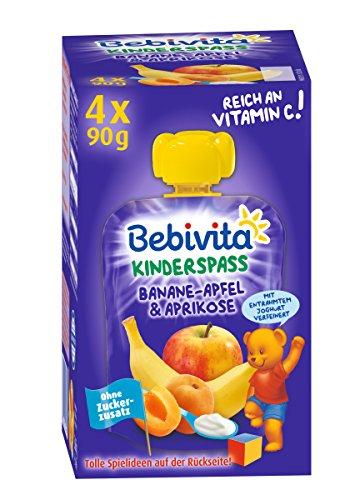 Bebivita Kinder-Spaß Frucht, Joghurt Banane, Apfel und Aprikose, 4 x 90 g