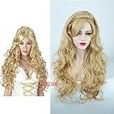 WIAGHUAS Theater Perücke Europa und Die Vereinigten Staaten Gold Lange Lockige Haare Anime Weibliche Haar Zöpfe,Goldene