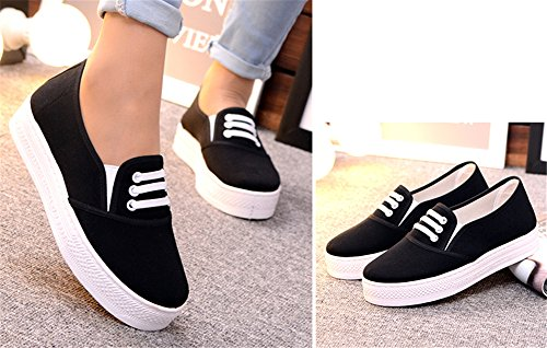 zhengjun  Casual Canvas Shoes, Damen Mokassins Schwarz