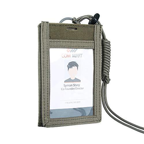 Excellent Elite Spanker Ausweishalter mit Umhängeband Einstellbar ID Arbeitskarte Kreditkarte Beutel Mann or Frau(Olivgrün) - Kreditkarte Beutel