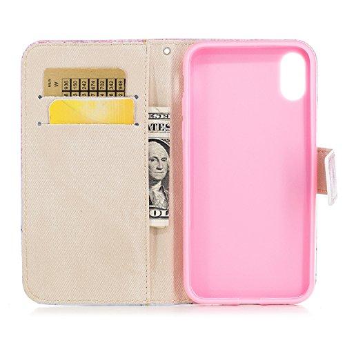 Cover Per iPhone X, Sunrive Custodia con supporto di stand e in Pelle artificiale per carte di credito Portafoglio Flip Chiusura Magnetica Protettiva(sabbia Blu) marmo