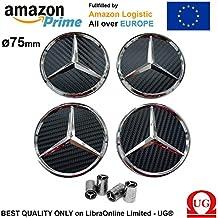 Tapacubos de 75 mm para Mercedes Benz color Negro Fibra de carbono Clase A B C E CLK GL