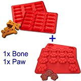 LYXY 15 LOCH Mini Hund Knochen 14 Loch Mini Hund footprintssilicone, zwei Sets zusammen, Cookies Dessert Form Tablett klappbar DIY Kuchenform Backform